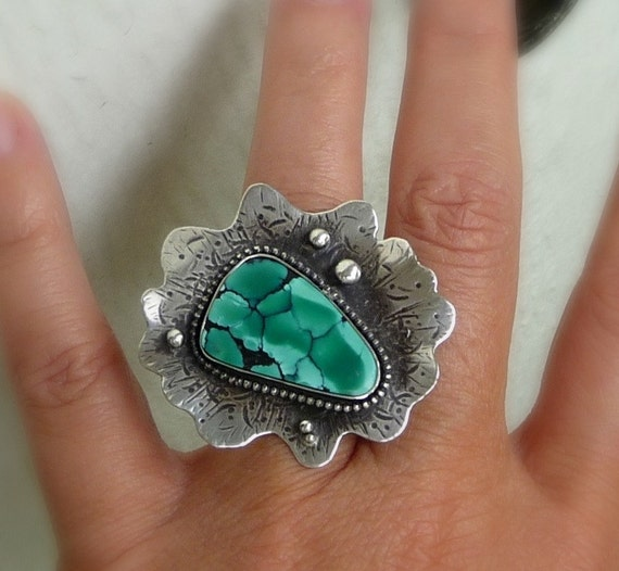 RESERVED for Nancy- 20% OFF: Tibetan Turquoise Flower Ring, Sterling Silver, One of a Kind  6