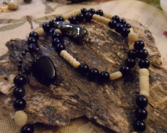 Black and White 20 Inch Necklace Jasper Pendant with Glass and Bone Beads