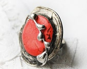 gift for her coral natural howlite stone ring coctail ring statement ring adjustable ring