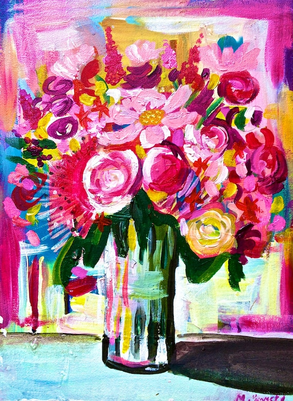 Unavailable listing on etsy for Bright flower painting