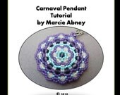 Beadweaving Pendant Tutorial - Carnaval Pendant Peyote Tutorial Instant Download