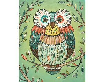 Owl Art: Archival print of illustration in mint, gold and coral, available in three sizes