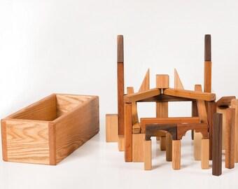Wooden Toy Blocks (Developmental, Montessori, Natural, Wood Toy)