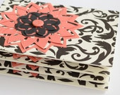 Greeting Card Set, Black and White Damask and Coral, Blank Cards, Set of Four Handmade Cards
