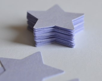 Paper Stars, Die Cut Purple Stars, Medium Sized Cardstock Stars, 50 Count, Birthday Party Confetti, Light Purple Stars, Dark Purple Die Cuts