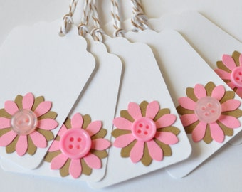 White Die Cut Tags, Paper Tags, Flower Embellished Tag Set, Group of 10, White Pink Brown Hang Tag