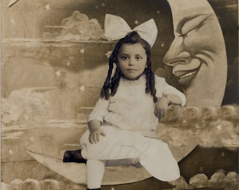Vintage Photo,  Altered  Image, digital download Pretty On The Moon