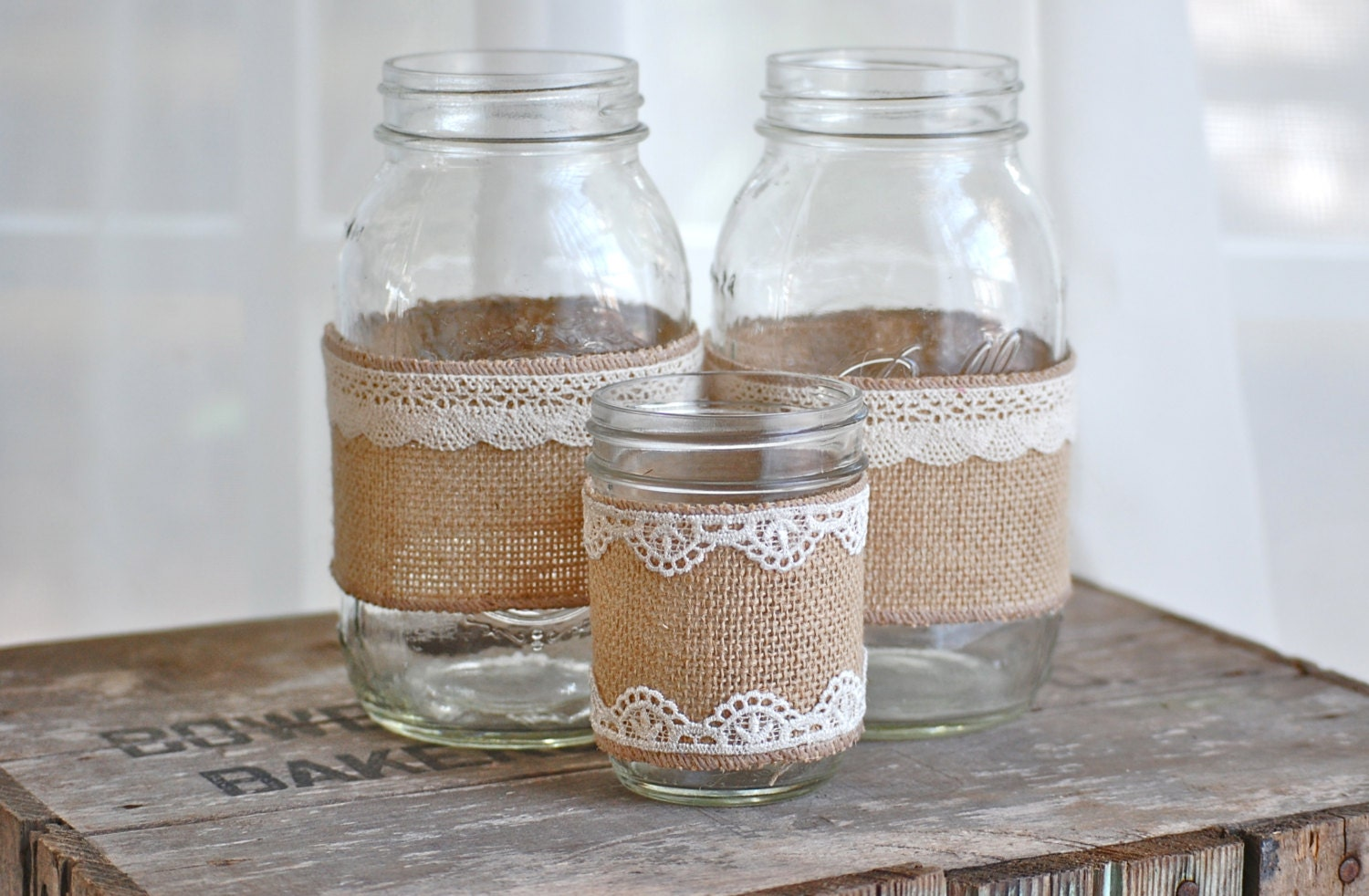 Set Of 3 Burlap And Lace Mason Jars Rustic By Heidiewithane