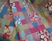 Quilted retro colors  pink blue purple green floral bed quilt
