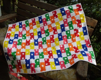 Primary bricks baby quilt