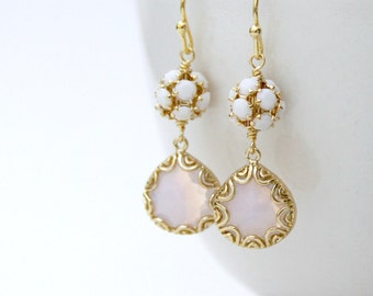 Moonstone Violet Opal Lace Drop Earrings Gold Swarovski Crystal