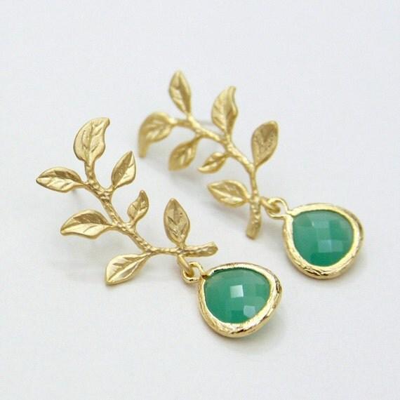 Organic Golden Leaf Branch Palace Green Teardrop Glass Post Earrings
