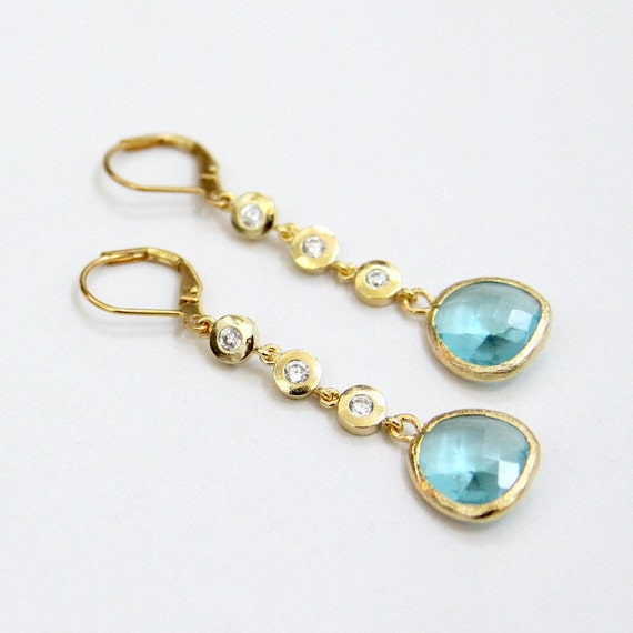 Syrena. Aquamarine Faceted Glass Briolette Drop Earrings Gold Cubic Zirconia Decorated