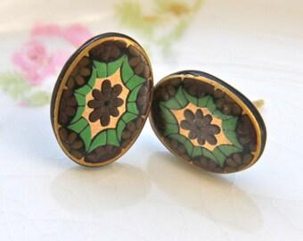 Czech Glass Gold Hunter Green and Black Mosaic Oval Post Earrings - Wedding, Boho