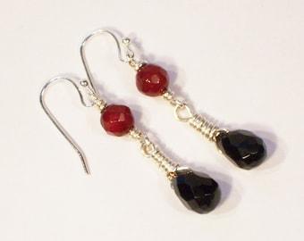 Obsidian and Carnelian Earrings, Wire Wrapped Earrings, Gemstone, Black and Red Earrings, Handmade Earrings, UK Seller