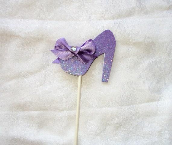 lavender glitter high heel shoe cupcake topper by