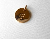 Initial charm, hand stamped gold filled charm (1), add a charm, personalized charm, small disc