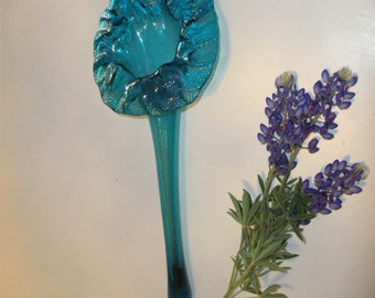 Hand Blown Bridal Bouquet Holder / flat vase