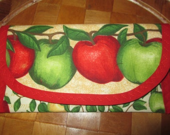 Red and Green Apple Fabric 8 x 4 Pouch, for Snacks, perfect for Coupons, Money gift Pouch