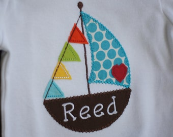 Sail Boat Personalized Baby Bodysuit - Boy - Sailing - Vacation