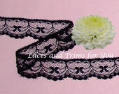 Black Lace Trim 10 Yards Bows Scalloped 1 inch H20B Added Items Ship No Charge
