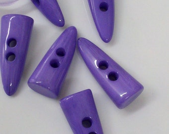 12  Pieces 42 mm   Large Purple  Button , Horn Shaped Toggles, Great for Jackets, Handbags, Sweaters and Home Decor.