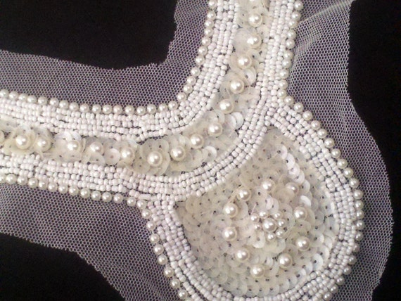 Elegant Ivory Pearls and Sequins Beaded Applique. Great for Formal  and Bridal  Accessory.