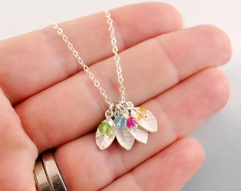 Custom Family Necklace, Dainty Leaves, Genuine Birthstone, Sterling Silver Jewelry for Mom, Personalized, Mother's Day