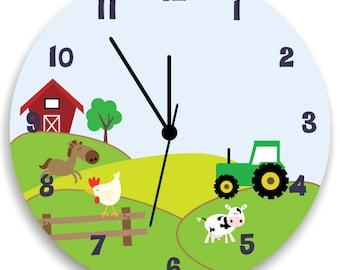 Boys Bedroom Clock, Life in Farm, Nursery Wall Hanging