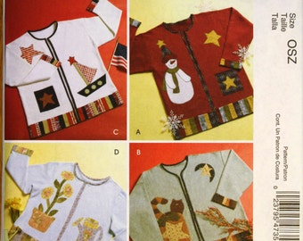 McCalls M4735 Crafts Seasonal Embroidery Appliques and Repurposed Cardigan Sewing Pattern