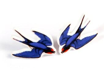 Swallow stud earrings ~ illustrated bird earrings