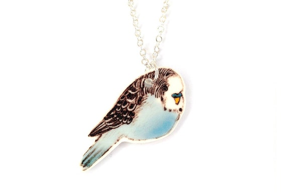 Blue budgie necklace ~ Illustrated bird necklace