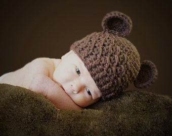 Baby Boy Hat, 0 to 3 Months Baby Boy Teddy Bear Hat, Handmade Baby Hat, Chocolate Brown with Ears. Great for Photo Props. Baby Shower Gift.