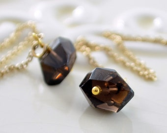 Smoky Quartz Earrings, Gold Threaders, Chocolate Brown Nugget, Gemstone Jewelry, Free Shipping