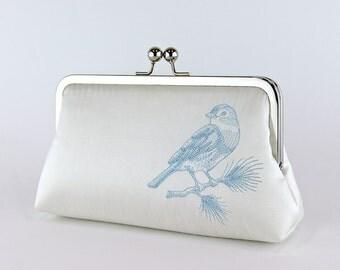 Silk Clutch with Embroidered Bluebird in IVORY or WHITE, Wedding clutch, Wedding bag, Bridal clutch, Purse for wedding