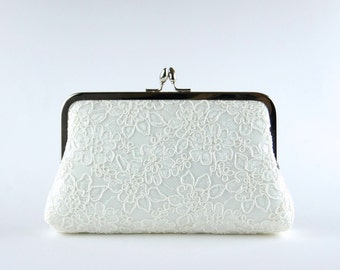 Alencon Lace  Silk Clutch in Ivory, Choose your Frame, wedding clutch, wedding bag, bridesmaid clutch, Bridal clutch