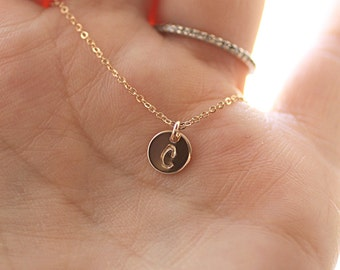 Tiny Gold Initial Necklace, Personalized Necklace, Hand Stamped, Initial Charm, Mother's Necklace, Gold Filled, Dainty Jewelry