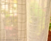 Sheer Cotton Curtain Fabric. Unbleached Cotton fabric for drapes. Organic cotton undyed. Highland Plaids. 44 inches wide.