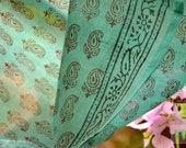 Indian Hand Block Print on sheer silk cotton fabric for drapery, dresses, tops. Gossamer thin. Emerald Greens. Emerald Forests Collection.