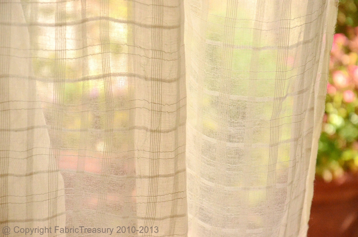 Sheer Cotton Curtain Fabric Unbleached Cotton Fabric For