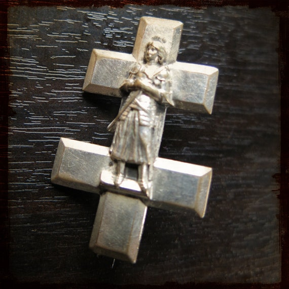 Antique French Saint Joan Of Arc Cross Vintage By