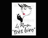 French Cross Stitch, La Rouge Silhouette, French Woman, Cross Stitch, Needlepoint, French Cross Stitch from NewYorkNeedleworks on Etsy