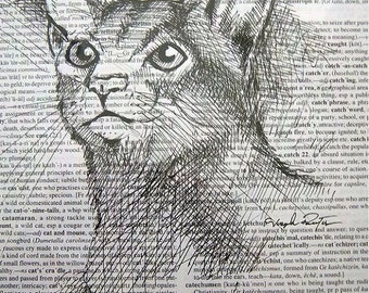 "Framed ""Feline Fix"" Original Archival Micron Indian Ink Drawing of a Cat Upcycled on Dictionary Paper"