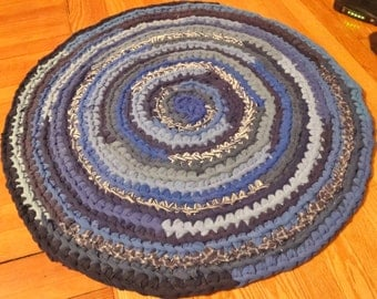 SALE-Blue Round Crochet Upcycled Area Rug