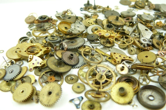 Assorted Watch Parts 1 oz. / GREAT for STEAMPUNK JEWERLY