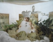 3D Assemblage Captured Baby Fairy Diorama Jar Nest Eggs Vintage Sheet Music Spring Home Decor