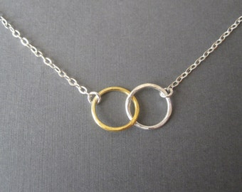 Gold & Silver Hammered Double Circle Eternity Necklace