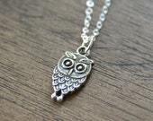 The Cutest Owl Necklace - Sterling Silver, simple everyday delicate bird jewelry