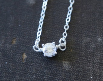 Tiny Sparkles / A Clear Sterling Silver Circle Necklace / crystal everyday dainty jewelry