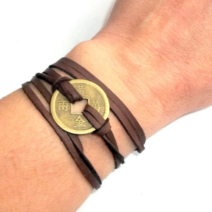 Chinese Coin Leather Wrap Bracelet Adjustable Earthegy